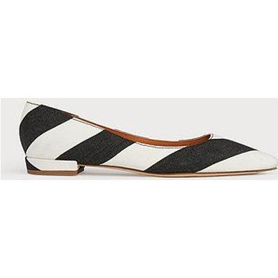 Harlow Monochrome Stripe Fabric Flats, Black White