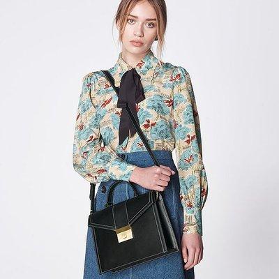 Monica Black Leather Handheld Bag, Black