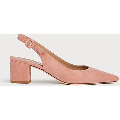 Ada Pink Suede Slingback Courts, Clay