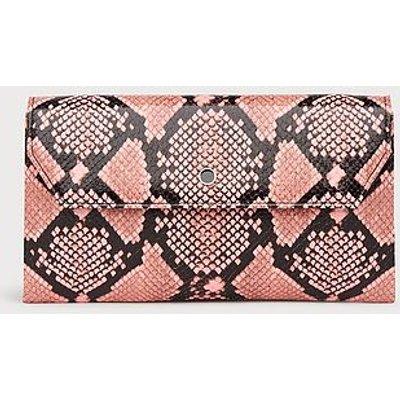 Dora Pink Snake Print Envelope Clutch, Candy