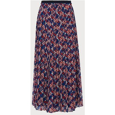 Avery Painted Check Print Pleated Midi Skirt, Blue Multi