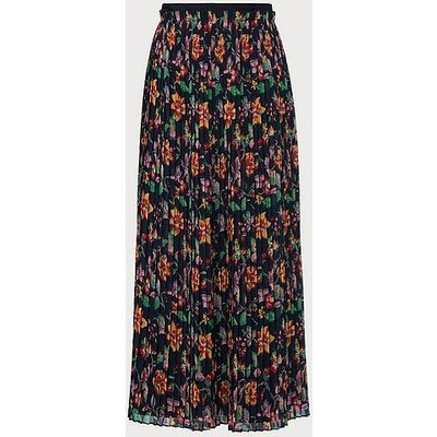 Avery 1940's Floral Print Pleated Midi Skirt, Midnight