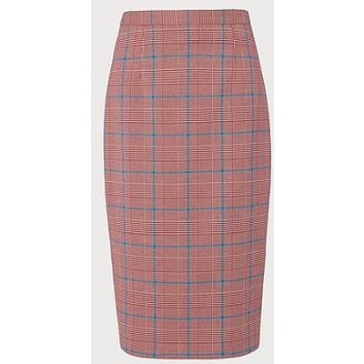 Eunice Prince of Wales Check Pencil Skirt, Red Check