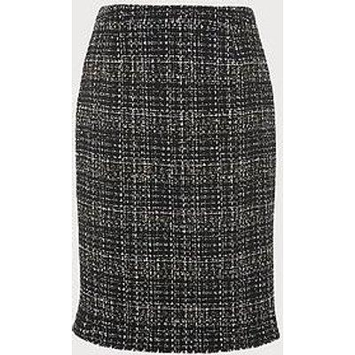Italy Black Navy Tweed Pencil Skirt, Black Navy
