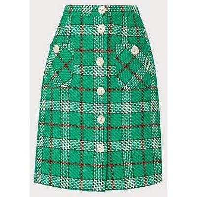 Lowri Check Tweed Button-Through Skirt, Green