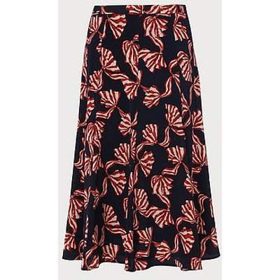 Mortimer Navy Bow Print Silk Skirt, Navy