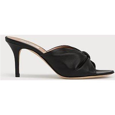 Nadia Black Leather Kitten Heel Mules, Black