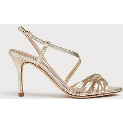 Naja Gold Leather Strappy Sandals, Soft Gold
