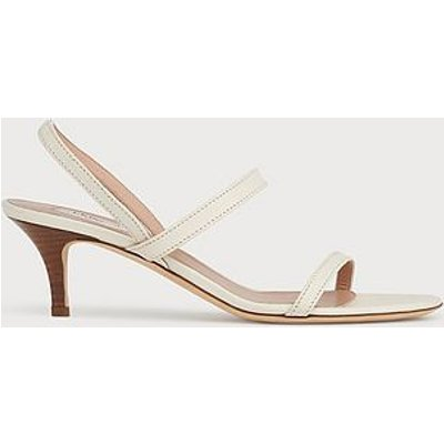 Natasha Off-White Leather Kitten Heel Sandals, Off White