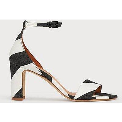 Nissi Monochrome Stripe Fabric Block Heel Sandals, Black White