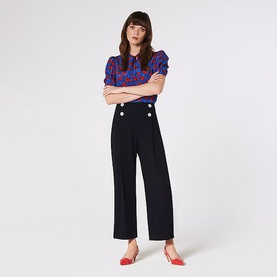 Parker Navy Wide-Leg Trousers, Midnight
