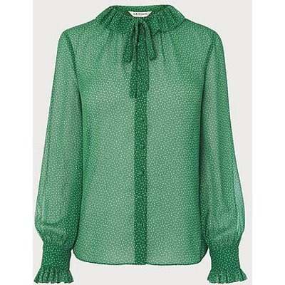 Eliza Spot Print Frill Collar Blouse, Green