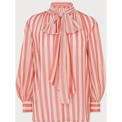 Holzer Pink Candy Stripe Pussy Bow Blouse, Pink Multi