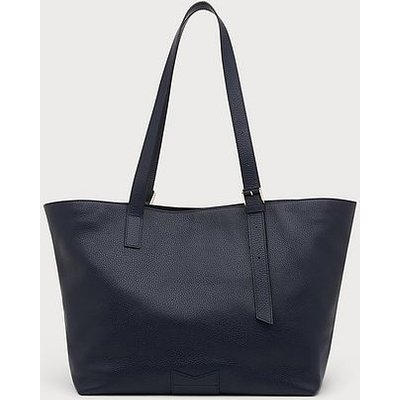 Leyla Navy Leather Tote Bag