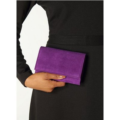 Danni Purple Suede Clutch Bag, Mulberry