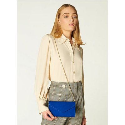Dominica Blue Suede Clutch Bag, Klein Blue