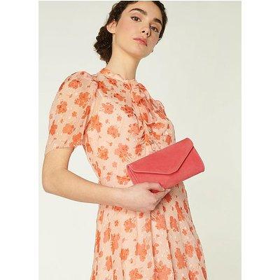 Dominica Pink Suede Clutch Bag, Lipstick Pink