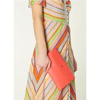 Dora Coral Leather Envelope Clutch, Coral