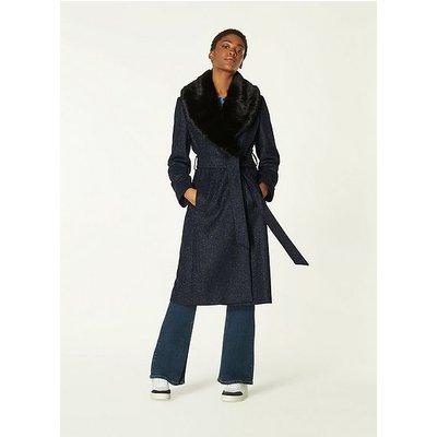 Ava Navy Virgin Wool Mix Coat, Navy