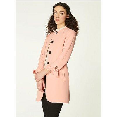 Maisie Pink Crepe Tie Cuff Coat, Pale Rose