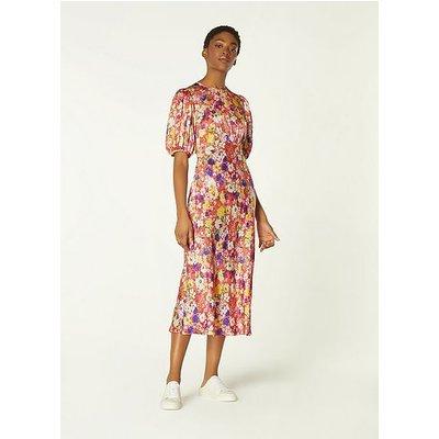 Alice Wildflower Print Silk Midi Dress, Lipstick
