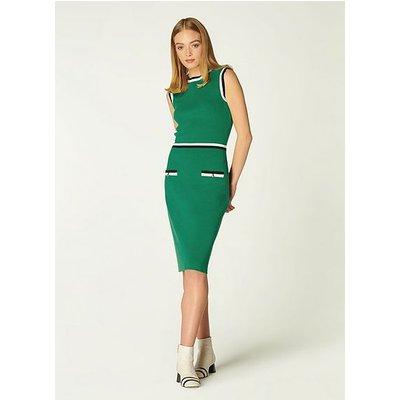 Angie Green Merino-Cotton Dress, Green