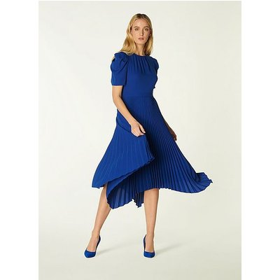 Aveline Blue Pleated Asymmetric Dress, Blue