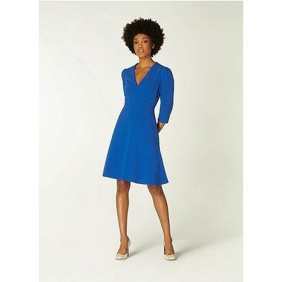 Belle Cobalt Blue Crepe Fit and Flare Dress, Cobalt