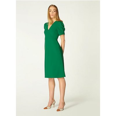 Bettina Green Crepe Fit and Flare Dress, Evergreen