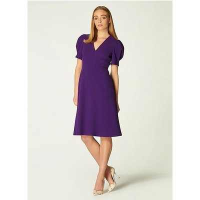 Bettina Purple Crepe Fit and Flare Dress, Mulberry