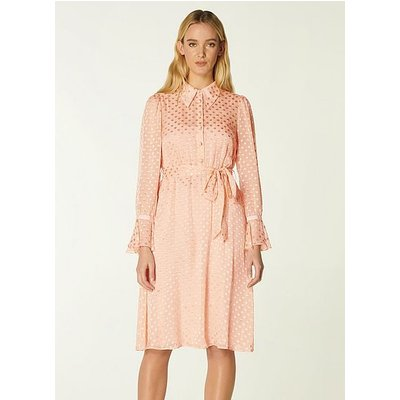 Campbell Pink Dévore Spot Shirt Dress, Rose