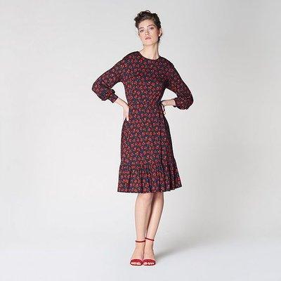 Carina Navy Poppy Print Dress, Multi