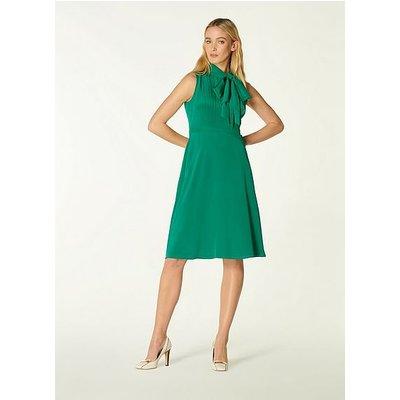 Edeline Green Silk Tie Neck Dress, Green