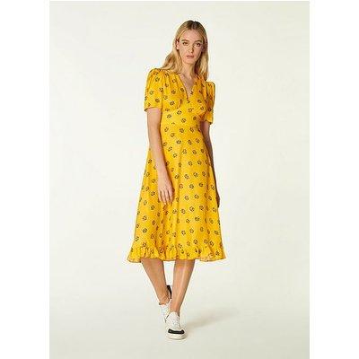 Elson Yellow Posey Print Silk-Blend Tea Dress, Yellow