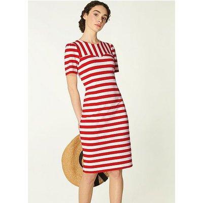 Emma Red & White Stripe Jersey Dress, Red Multi