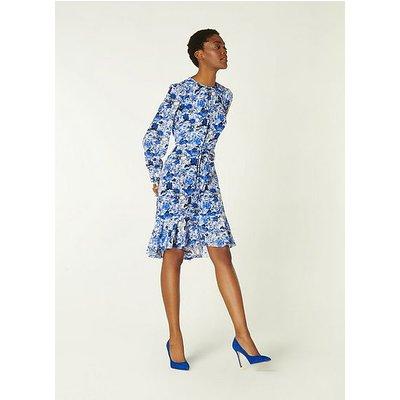 Emylou Blue and White Botanical Print Dress, Blue