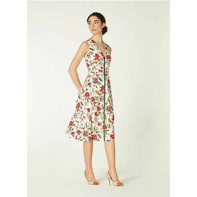 Friday White Romance Floral Stretch Cotton Dress, Green White