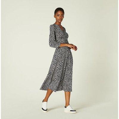 Gabrielle Navy and Cream Coral Print Stretch Silk Dress, Blue Cream