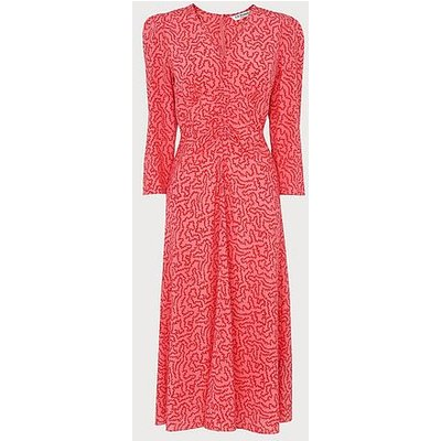 Gabrielle Coral and Cream Coral Print Stretch Silk Dress, Multi