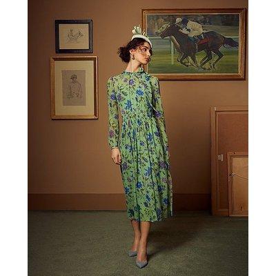 Gish Green Romance Floral Print Tie Neck Silk Dress, Green