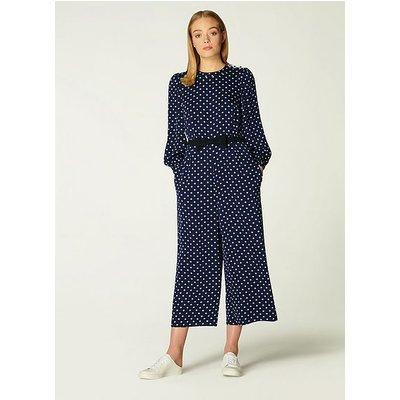 Harriet Navy & Cream Spot Print Jumpsuit, Navy