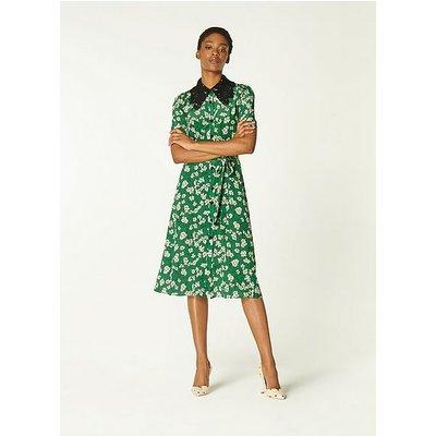 Haskell Green Daisy Print Silk Shirt Dress, Green