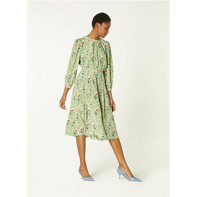 Hektor Green Anemone Print Silk Dress, Green
