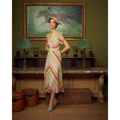 Holzer Candy Stripe Silk Midi Dress, Multi