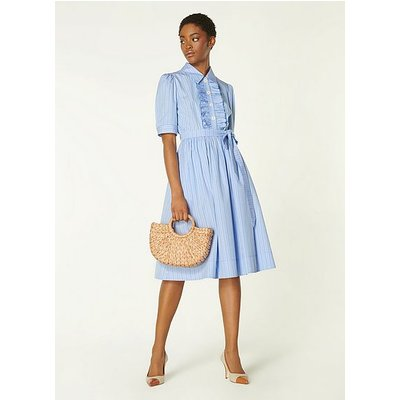 Jamois Blue Striped Cotton Dress, Blue White