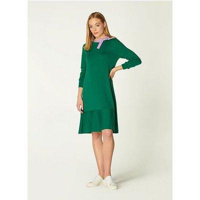 Jenna Green & Lilac Merino Wool Flippy Hem Dress, Green