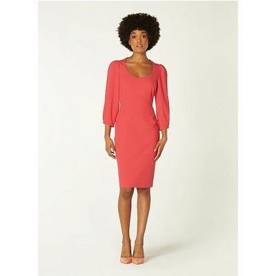 Josephine Pink Crepe Scoop Neck Shift Dress, Pink