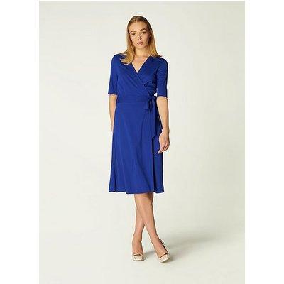 Juliet Blue Jersey Wrap Dress, Blue