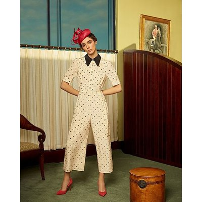 Lena Cream and Black Polka Dot Print Silk Jumpsuit, Cream