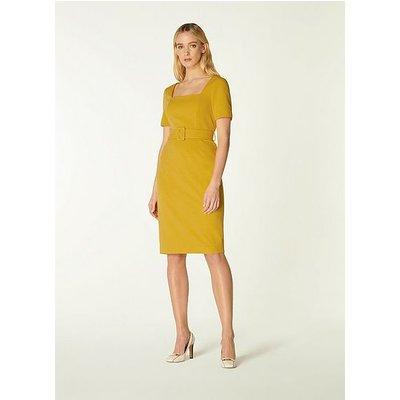 Leonora Yellow Crepe Belted Shift Dress, Yellow